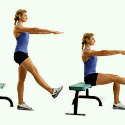 One legged bench squats
