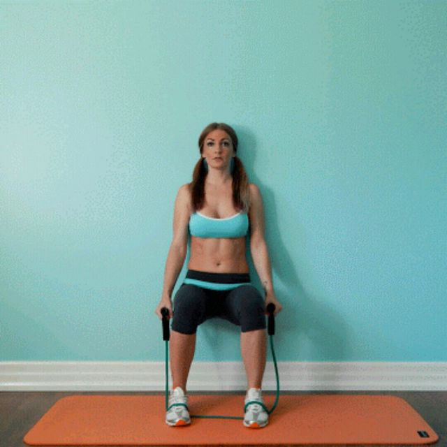 How to do: Bicep Curls Wall Sit Resistance Band - Step 1