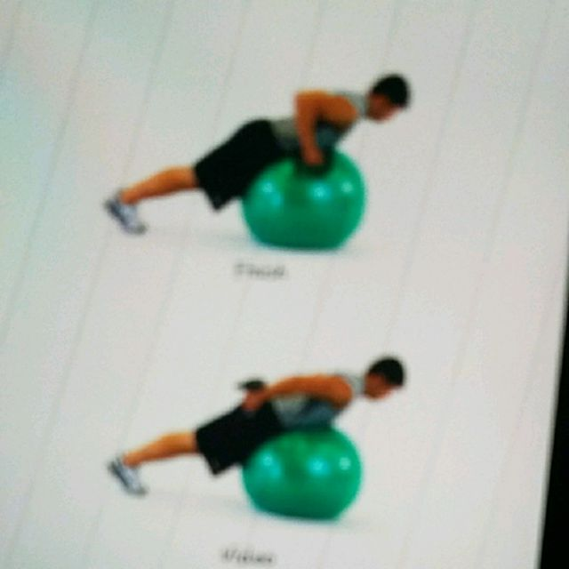 How to do: Ball Lying Prone Tricep Extension 2 Arm - Step 1
