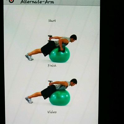 Ball Lying Prone Tricep Extension Alternate Arm