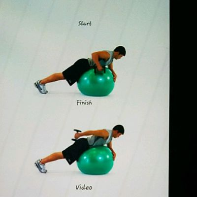Ball Lying Prone Tricep Extension One Arm