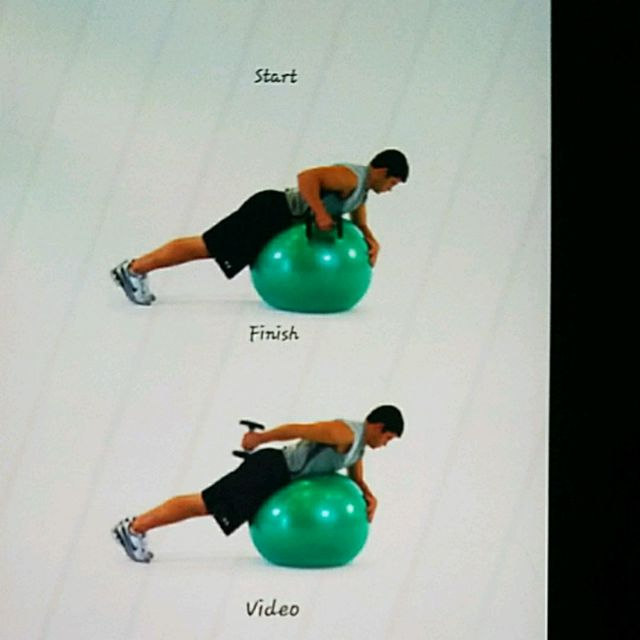 How to do: Ball Lying Prone Tricep Extension One Arm - Step 1