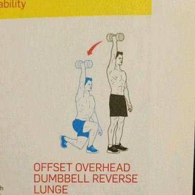 Offset Overhead Dumbbell Reverse Lunge