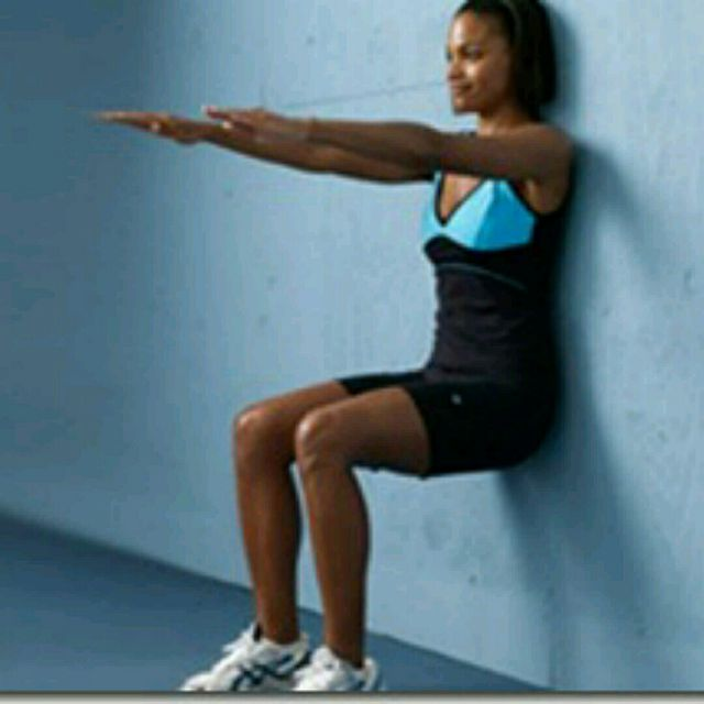 How to do: Arm Hold Wall Sit - Step 1