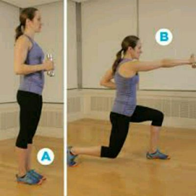 Alternating Dumbbell Lunge Punch