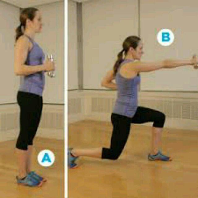 How to do: Alternating Dumbbell Lunge Punch - Step 1
