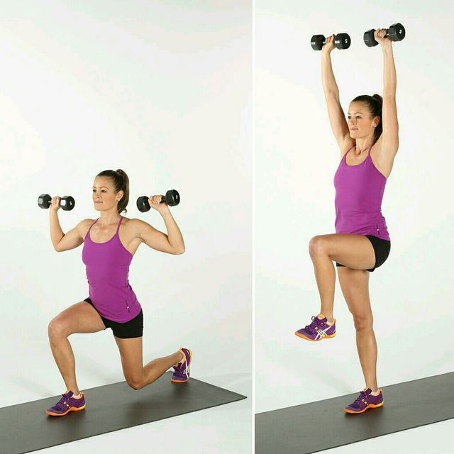 How to do: Alternating Reverse Lunge Press - Step 1