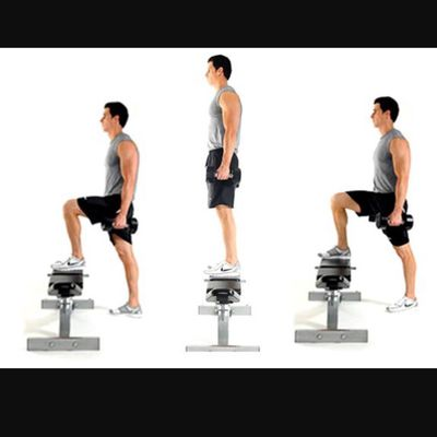 Bench Step Ups Right Leg