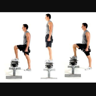 Bench Step Ups Left Leg