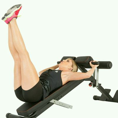 Incline Bench Straight Leg Raises
