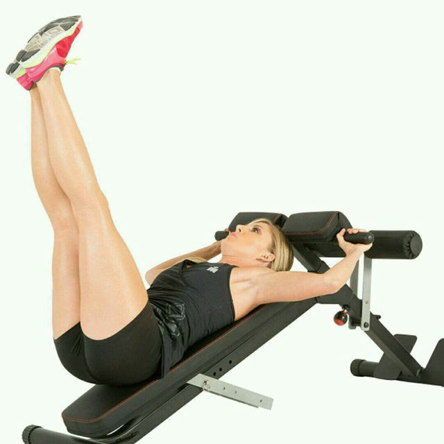How to do: Incline Bench Straight Leg Raises - Step 1