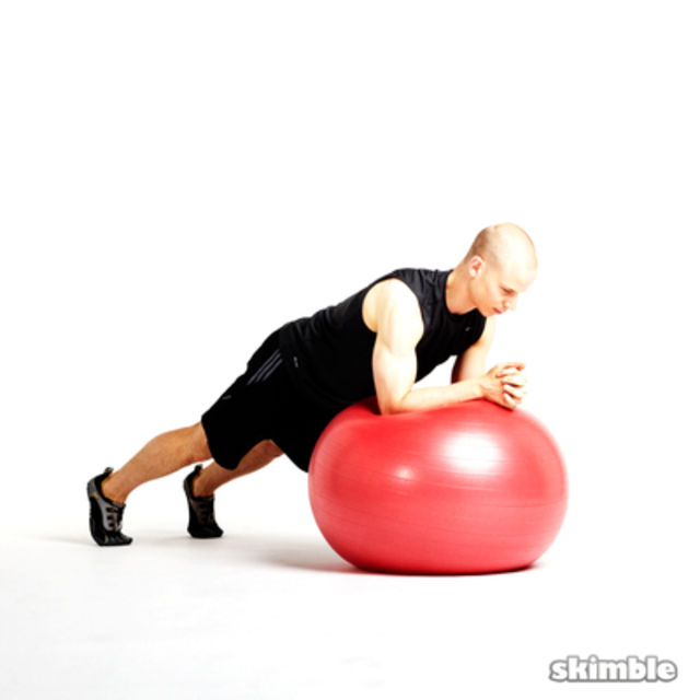 How to do: Elbow Plank on Ball - Step 1