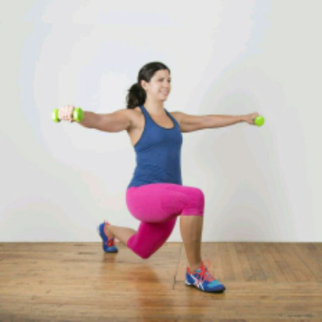 How to do: Alternating Lunge Lateral Raise - Step 1