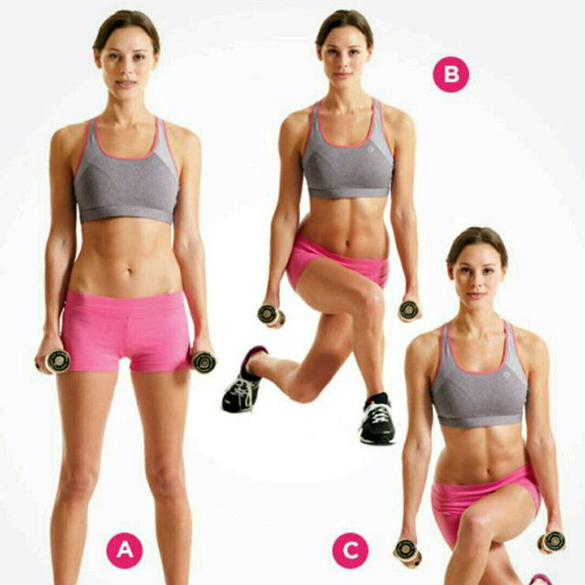 How to do: Alternating Dumbbell Curtsy Lunge - Step 1
