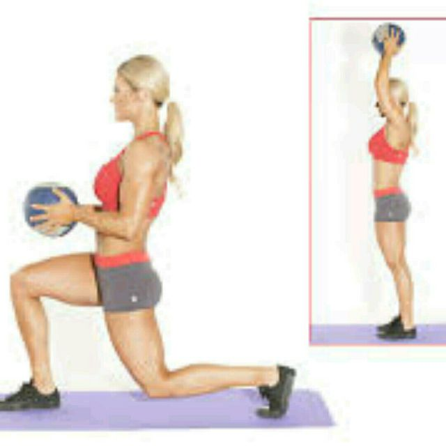 How to do: Alternating Med Ball Overhead Lunge - Step 1