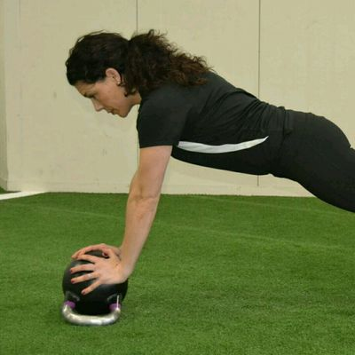 Diamond Push-Ups With Kettlebell