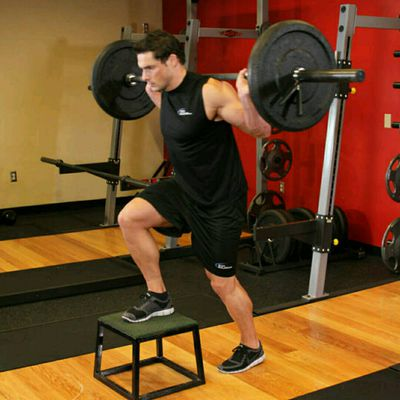 Barbell Loaded Step Up With Leg Raise