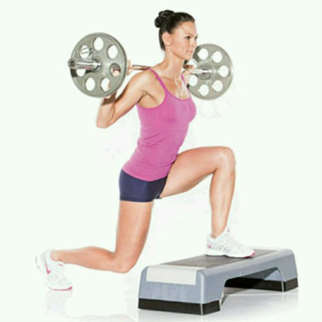 How to do: Barbell Reverse Lunge on Bench - Step 2