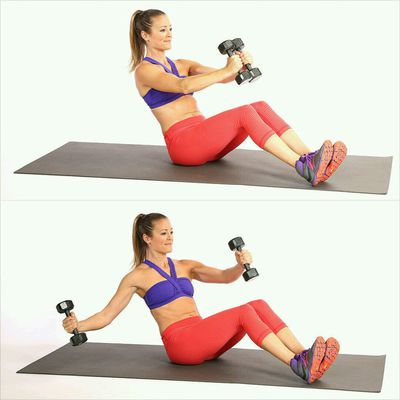 Bench V-Sit with Dumbbell Fly