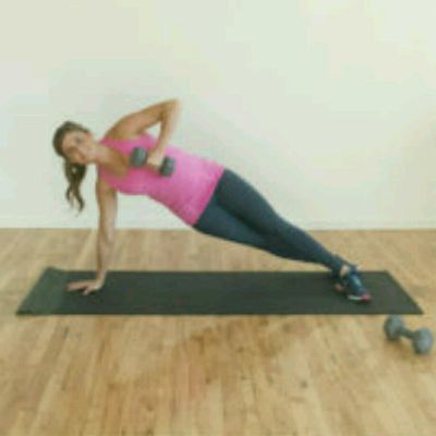 Side Plank Single Arm Row & Push with Weights