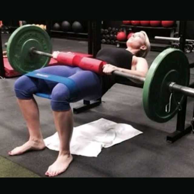 How to do: Barbell Hip Raises On Bench With Band - Step 1
