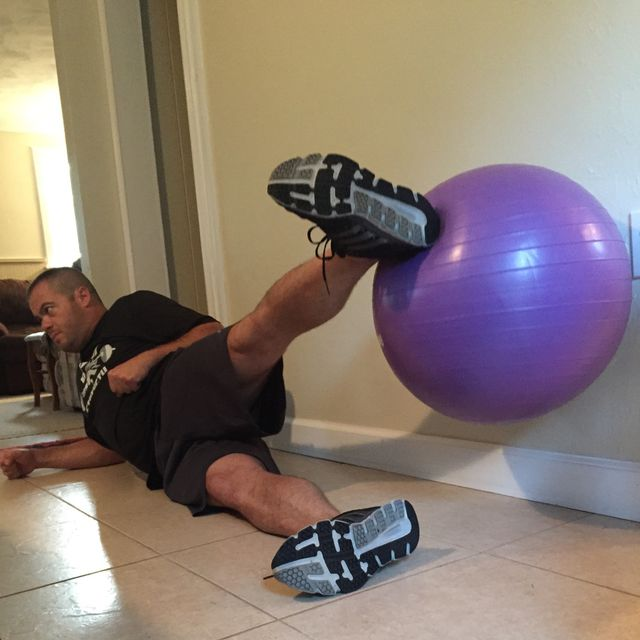How to do: Swiss Ball Lying Leg Raise - Step 3