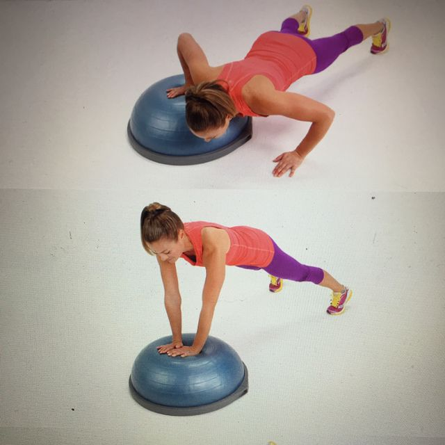 How to do: Bosu Ball Side To Side Pushups - Step 1
