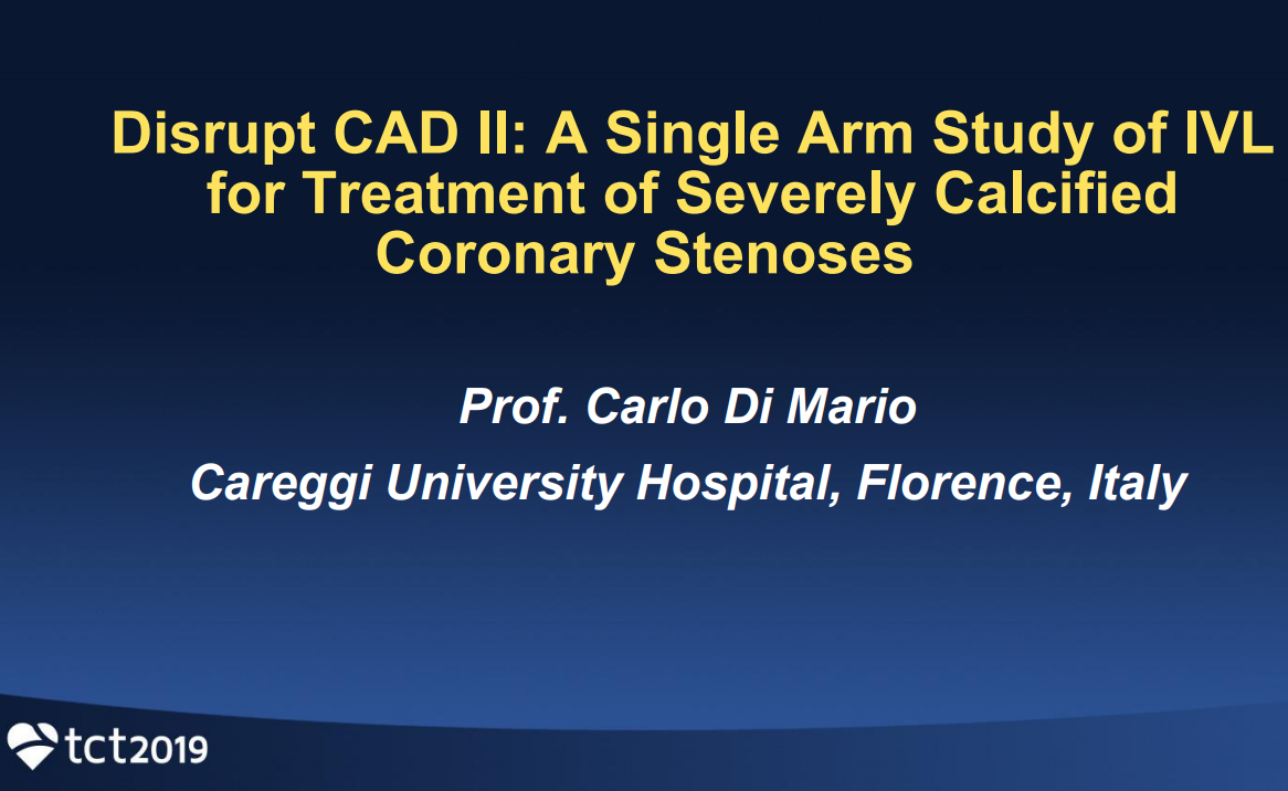 DISRUPT CAD II: A Single-Arm Study of Intravascular Lithotripsy for Treatment of Severely Calcified Coronary Stenoses