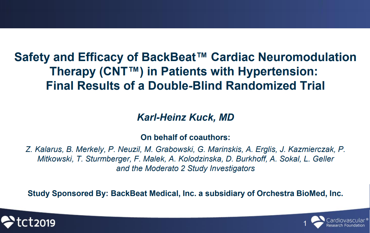 MODERATO II: A Double-Blind Randomized Trial of Cardiac Neuromodulation Therapy in Patients With Hypertension