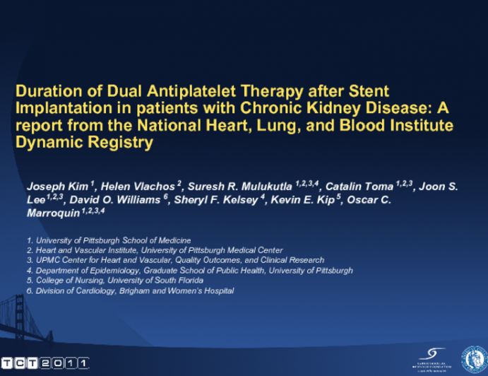 Duration Of Dual Antiplatelet Therapy After Drug Eluting Stent Implantation In Patients With Chronic Kidney Disease A Report From The National Heart Lung And Blood Tctmd Com
