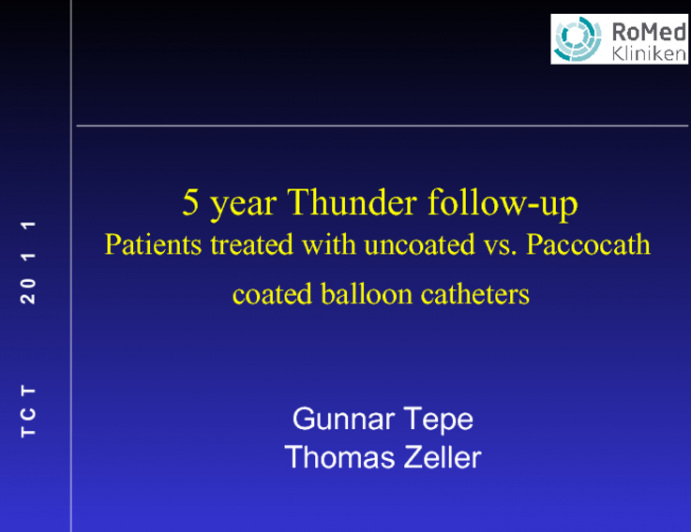 5-year THUNDER Follow-Up: Patients with PAD Treated with Uncoated Versus Paccocath Paclitaxel Coated Balloons.
