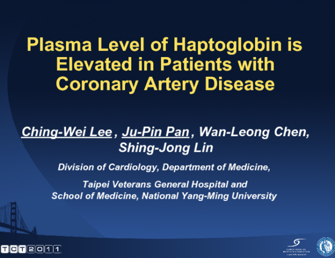 Plasma Levels of  Haptoglobin is Elevated in Patients With Coronary Artery Disease