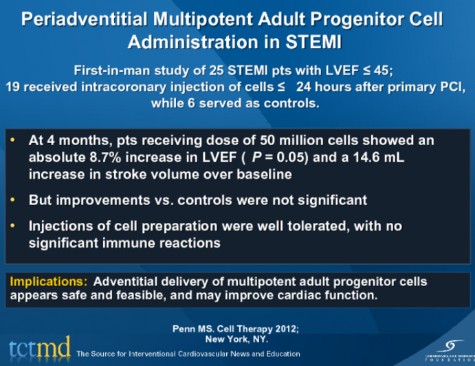 Periadventitial Multipotent Adult Progenitor Cell Administration in STEMI