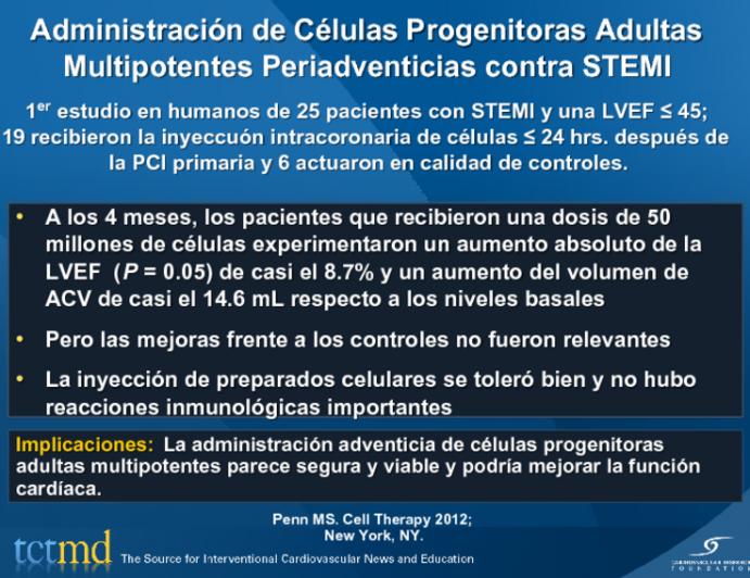 Administración de Células Progenitoras Adultas Multipotentes Periadventicias contra STEMI