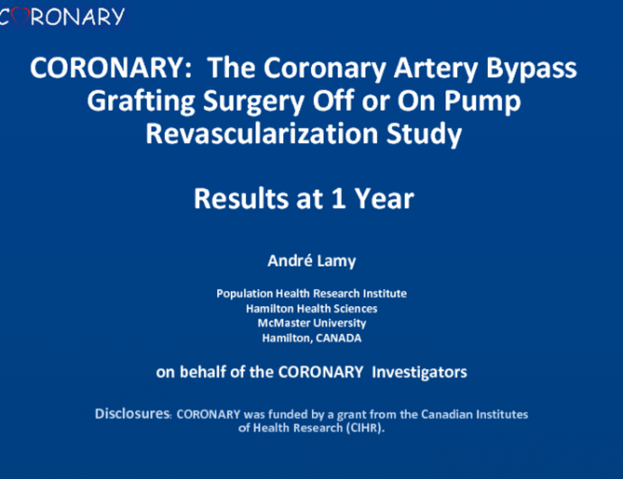 CORONARY: The Coronary Artery Bypass Grafting Surgery Off or On Pump Revascularization Study: Results at 1 Year