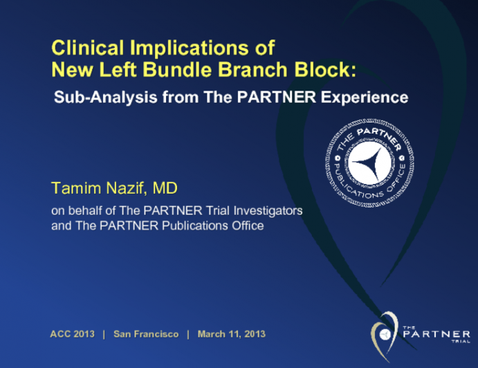Clinical Implications of New Left Bundle Branch Block: Sub-Analysis from The PARTNER Experience