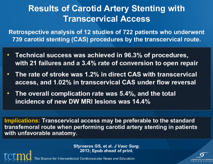 Results Of Carotid Artery Stenting With Transcervical Access
