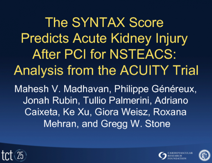 The SYNTAX Score Predicts Acute Kidney Injury After PCI for NSTEACS: Analysis from the ACUITY Trial