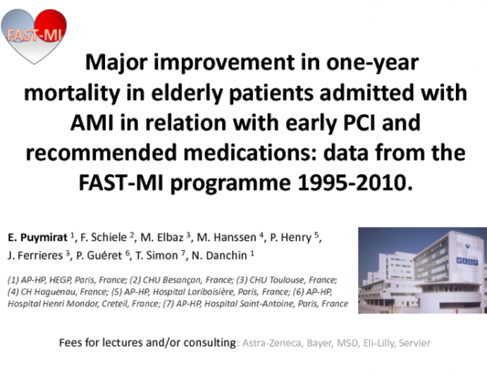 Major improvement in one-year mortality in elderly patients admitted with AMI in relation with early PCI and recommended medications: data from the FAST-MI programme 1995-2010