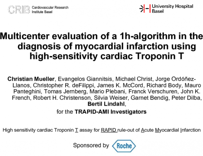 Multicenter evaluation of a 1h-algorithm in the diagnosis of myocardial infarction using high-sensitivity cardiac Troponin T