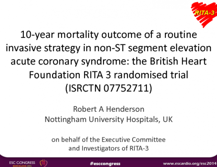 10-year mortality outcome of a routine invasive strategy in non-ST segment elevation acute coronary syndrome: the British Heart Foundation RITA 3 randomised trial