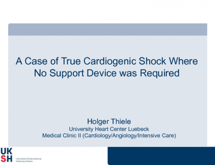 A Case of True Cardiogenic Shock Where No Support Device was Required