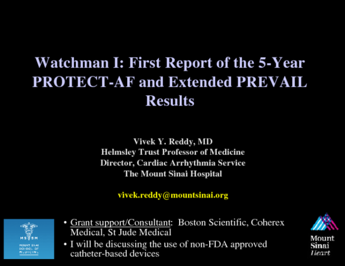 Watchman I: First Report of the 5-Year PROTECT-AF and Extended PREVAIL Results