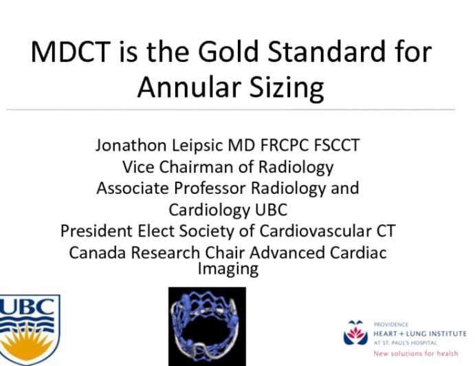 """CTA Is the """"Gold Standard"""" for TAVR Valve Sizing"""
