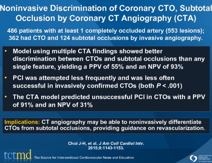 Noninvasive Discrimination of Coronary CTO, Subtotal Occlusion by Coronary CT Angiography (CTA)