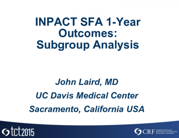 IN.PACT SFA 1-year Outcomes: Subgroup Analyses
