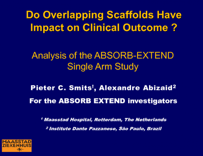 TCT 16: Do Overlapping Scaffolds Have an Impact on Clinical Outcome? Analysis of the ABSORB-EXTEND Single-Arm Study