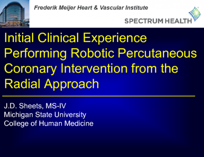 TCT 108: Initial Clinical Experience Performing Robotic Percutaneous Coronary Intervention From the Radial Approach