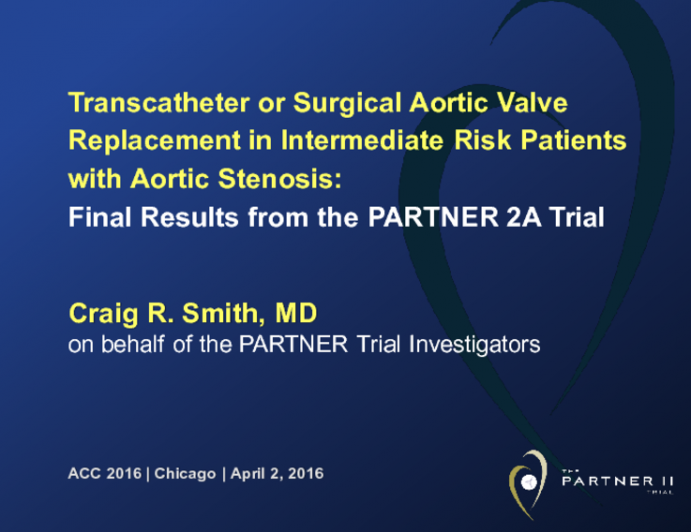 Transcatheter or Surgical Aortic Valve Replacement in Intermediate Risk Patients with Aortic Stenosis