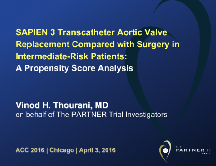 SAPIEN 3 Transcatheter Aortic Valve Replacement Compared with Surgery in Intermediate-Risk Patients: A Propensity Score Analysis